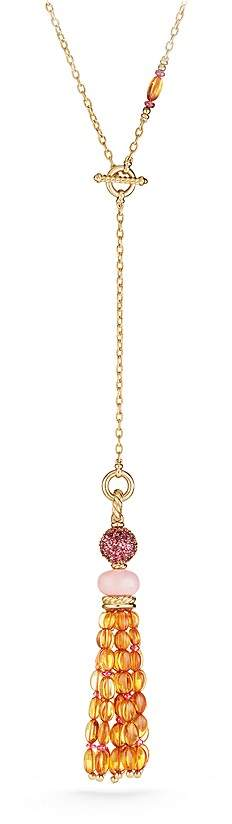 David Yurman Mustique Tassel Necklace with Pink Opal, Citrine and Pink Tourmaline in 18K Yellow Gold
