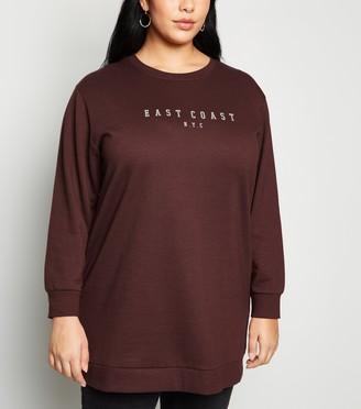 New Look Curves East Coast Slogan Long Sweatshirt