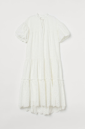 H&M Flared Cotton Dress - White
