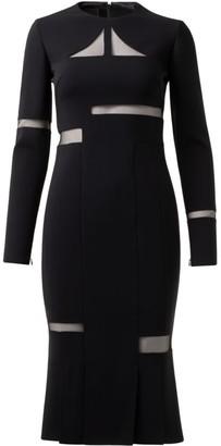 Akris Sheer Panel Double Faced Wool Midi Dress