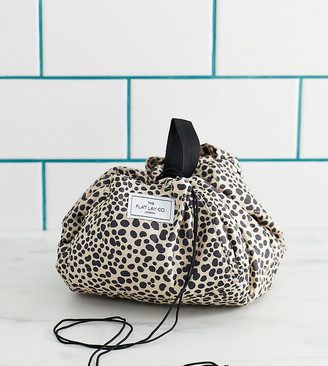 Flat Lay Company Flat Lay Co drawstring make up bag in leopard spot