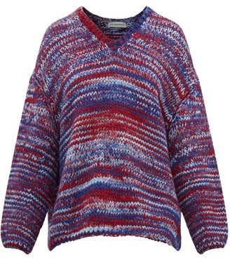 Vika Gazinskaya Oversized V-neck Knitted Sweater - Womens - Blue Multi