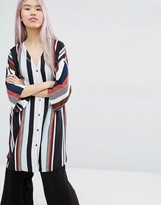 Monki Stripe Oversized Blouse