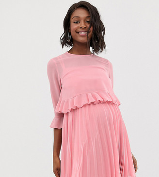 ASOS DESIGN Maternity double layer pleated mini dress