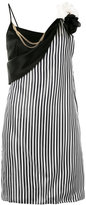 Lanvin striped floral brooch dress - women - Polyester/Triacetate/Viscose - 38