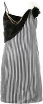 Lanvin striped floral brooch dress - women - Triacetate/Polyester/Viscose - 36