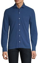 Isaia Long-Sleeve Piquet Polo Shirt