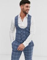Asos DESIGN wedding super skinny suit vest in blue wool blend check