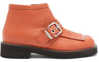 Marni Fringed And Buckled Leather Ankle Boots - Tan