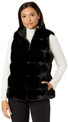 Via Spiga Sleeveless Short Reversible Faux Fur Vest (Black) Women's Clothing