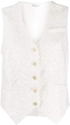 Brunello Cucinelli sequin embellished waistcoat jacket