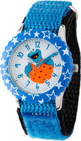 Sesame Street Boys Blue Cookie Monster Stars Time Teachers Strap Watch W003176