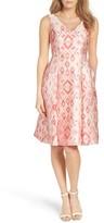 Adrianna Papell Women's Aztec Jacquard Tea Length Dress