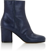 Maison Margiela Women's Metallic Suede Ankle Boots-Navy