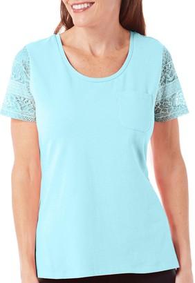 Caribbean Joe Women's Short Solid Cotton Spandex Lace Sleeve Tee
