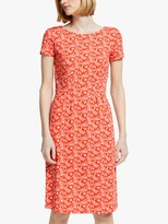 Boden Phoebe Short Sleeve Jungle Dress, Orange Sunset