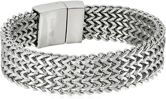 Crucible Jewelry Mens Stainless Steel High Polished Multi-Layer Franco Link Bracelet
