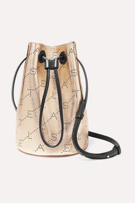 Stella McCartney + Net Sustain Mini Perforated Metallic Faux Leather Bucket Bag - Gold