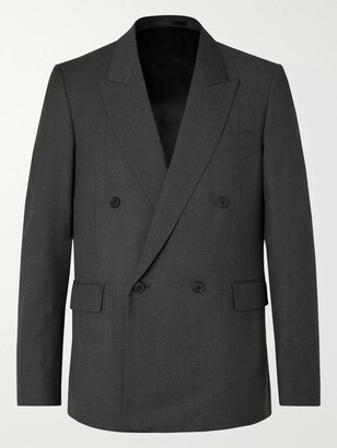 The Row Dark-Grey Colin Double-Breasted Melange Wool Suit Jacket - Men - Gray