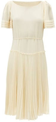 See by Chloe Pleated Georgette Dress - Cream