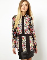 Asos Blouse in Cut-about Floral Stripe Print