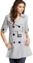 Textured Short-Sleeve Belted Trench