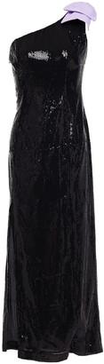 Olivia Rubin Violet One-shoulder Bow-embellished Sequined Georgette Midi Dress