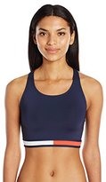 Tommy Hilfiger Women's Retro Flag Color Block Cropped Bikini Top with Athletic Back