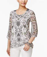 JM Collection Printed Chiffon-Sleeve Top, Only at Macy's