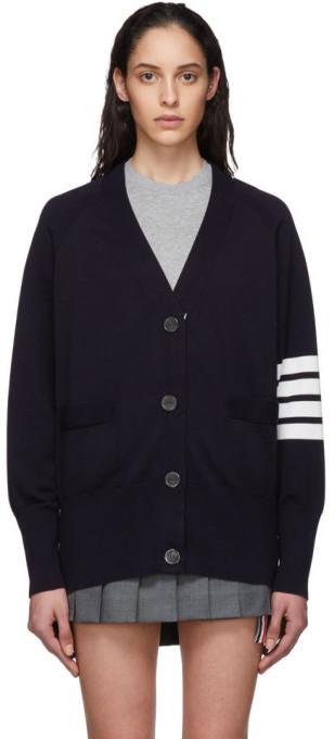Thom Browne Navy Exaggerated Sleeve 4-Bar Cardigan