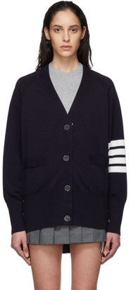 Thom Browne Navy Exaggerated Sleeve 4-Bar Cardigan