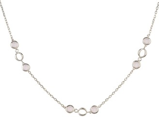 Latelita Milan Link Gemstone Necklace Silver Rose Quartz