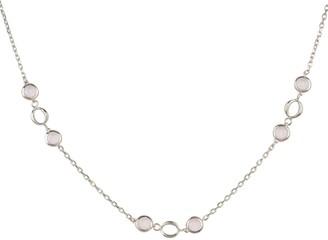 Milan Link Gemstone Necklace Silver Rose Quartz