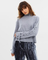 Whistles Lace-Up Sleeve Sweater