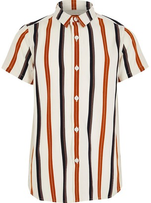 River Island Boys ecru stripe short sleeve shirt
