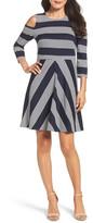 Eliza J Stripe Cold Shoulder Dress (Regular & Petite)