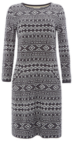 White Stuff Geo Jacquard Dress, Smoky Grey