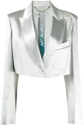 Off-White single-breasted cropped satin blazer