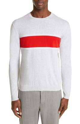 Eleventy Slim Fit Stripe Crewneck Cotton Sweater