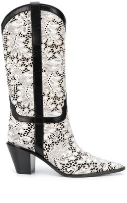 Casadei Lace-Embellished 75mm Boots