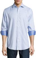Neiman Marcus Classic-Fit Patterned Sport Shirt, Blue