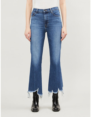 J Brand Julia frayed-hem straight high-rise jeans