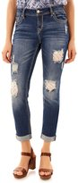 Wallflower Juniors' Wallflower Ripped Patched Cuffed Skinny Jeans