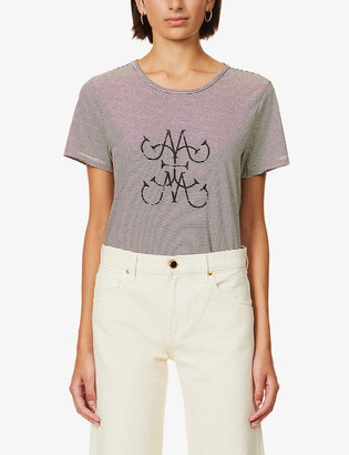 Me And Em Striped graphic print recycled-cotton and recycled-polyester blend T-shirt