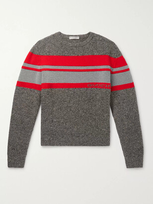 Givenchy Striped Logo-Intarsia Reflective Wool Sweater