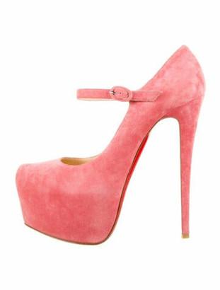 Christian Louboutin Suede Animal Print Pumps Pink
