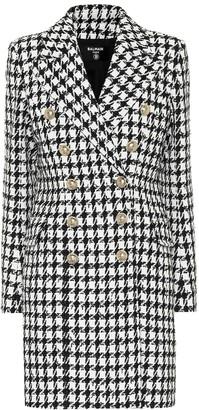 Balmain Houndstooth cotton-blend coat