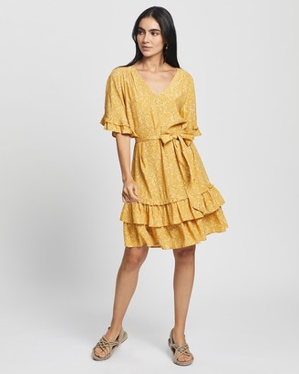 Gysette - Women's Yellow Floral Dresses - Isla Ruffle Frill Dress - Size One Size, 8 at The Iconic