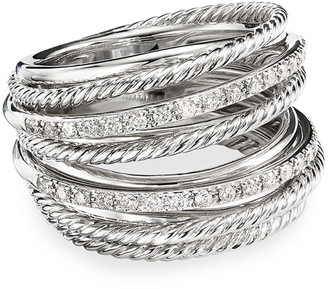 David Yurman DY Crossover Wide Ring w/ Diamonds