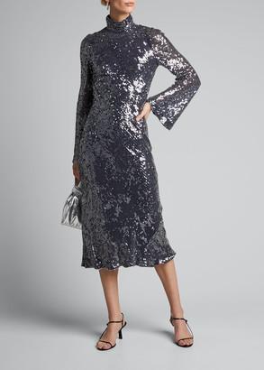 Galvan Sequined High-Neck Open-Back Dress
